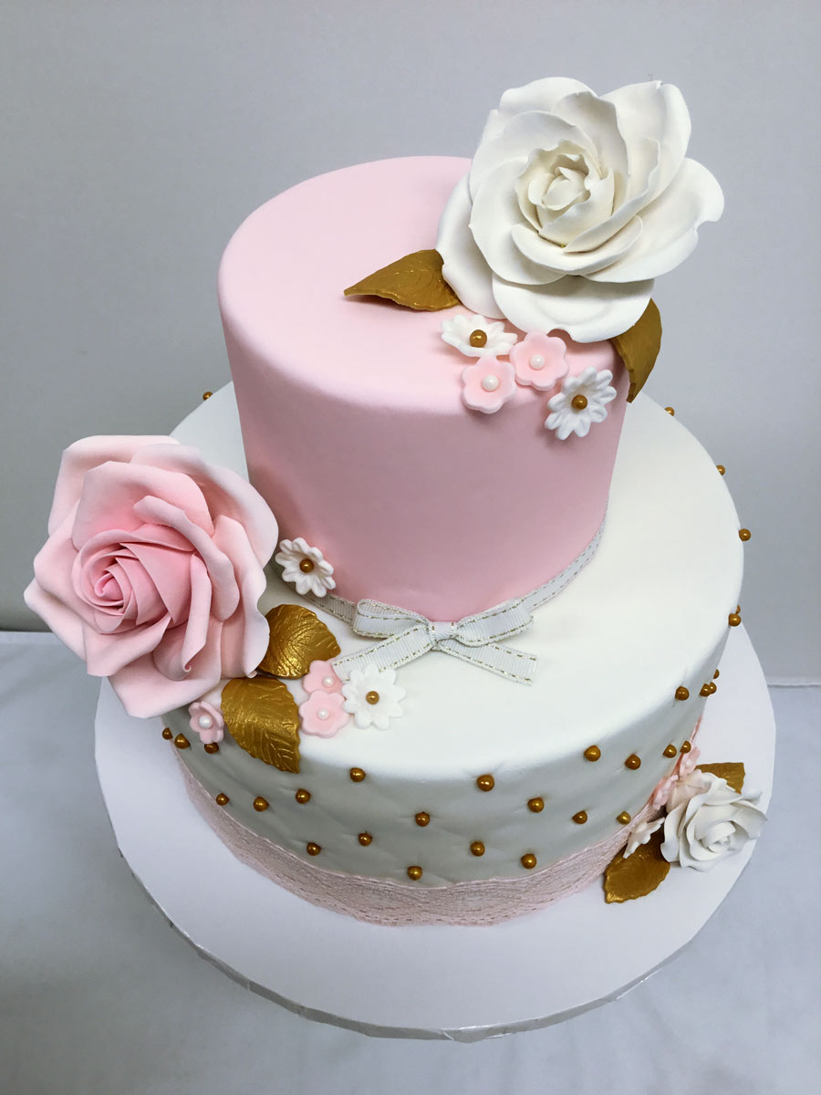 Bridal Shower Cake - Elegant flowers
